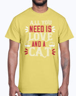 Load image into Gallery viewer, All You Need Is Love and a Cat- Cat - Cotton Tee yellow