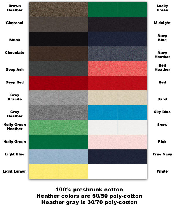 T-shirt color options