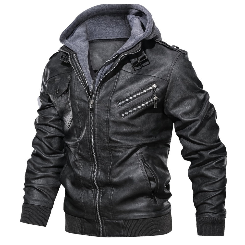 LIBERATION Men's PU Leather Motorcycle Jacket with Removable Hood Biker Coat Slim Fit Bomber Jacket