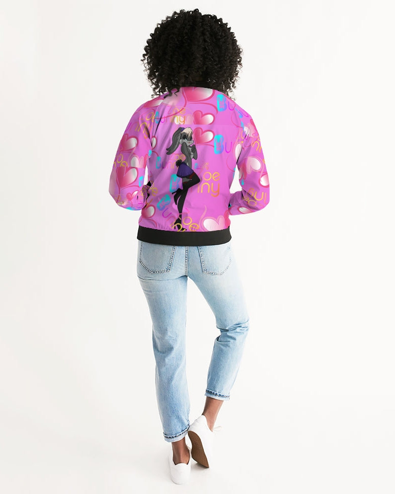 ZOE BUNNY Bubble gum bunny heart Women's Bomber Jacket