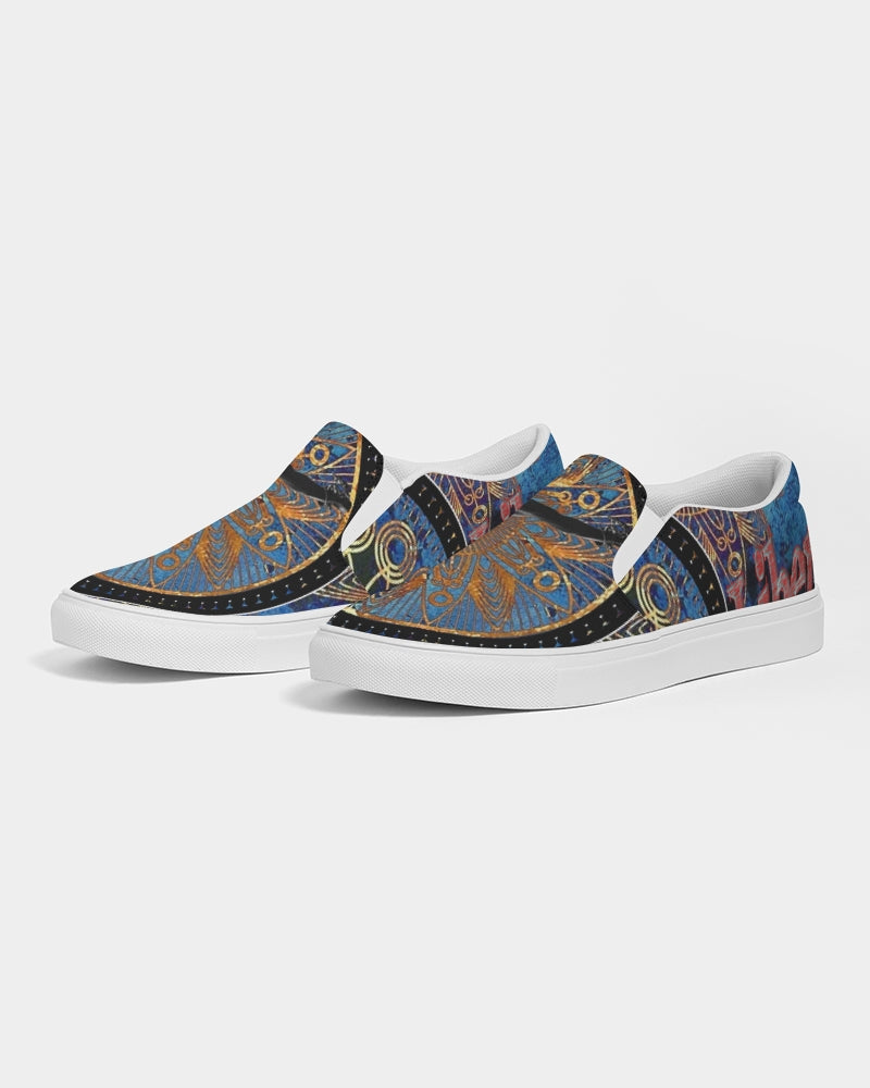 LIBERATION blue and gold Men's Slip-On Canvas Shoe