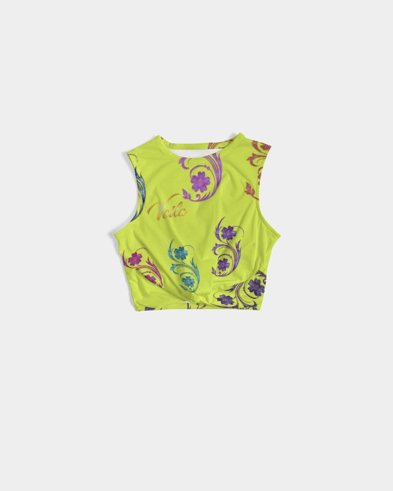 VOILA YELLOW lime tights Women's Twist-Front Tank