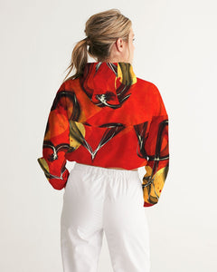 VOILA COUPLE DESIGN love red Women's Cropped Windbreaker