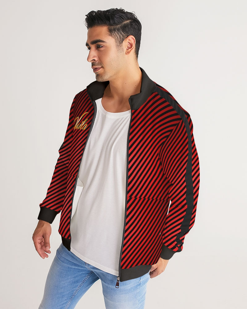VOILA red zebra Men's Stripe-Sleeve Track Jacket