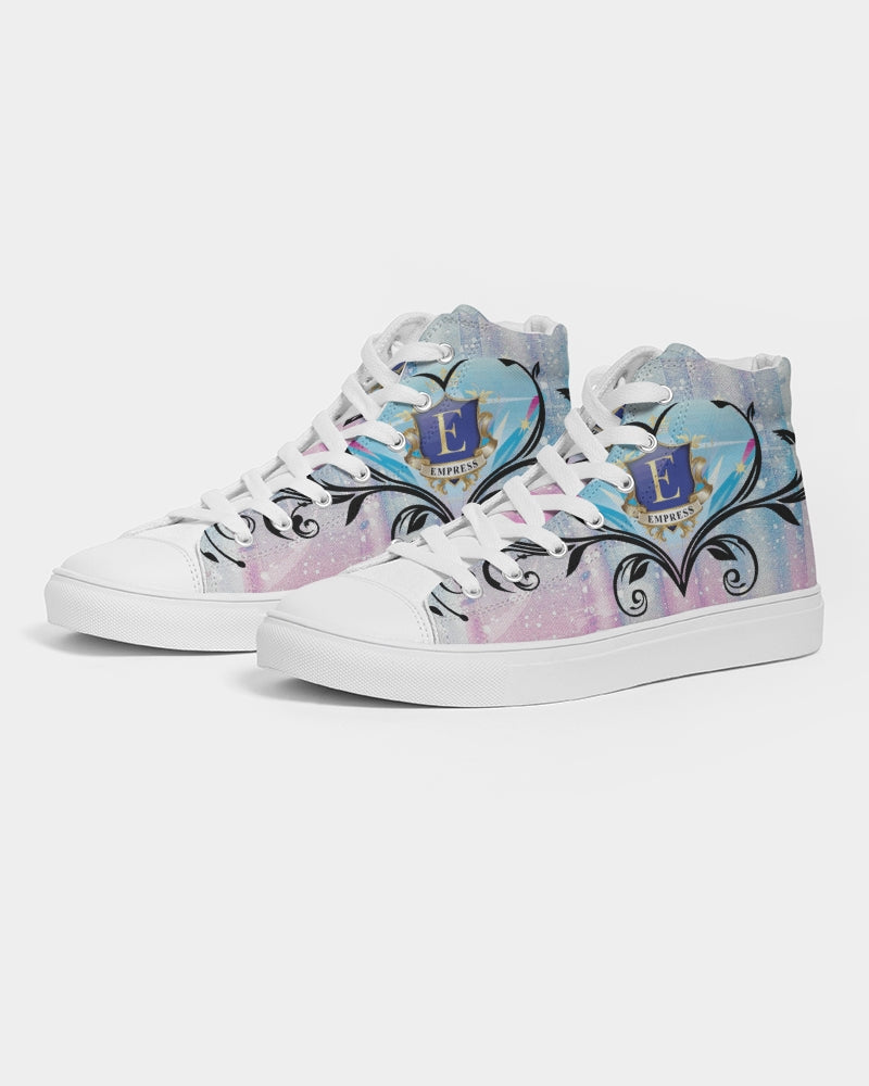 EMPRESS  pink blue Women's Hightop Canvas Shoe