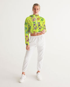 VOILA yellow lime Women's Cropped Windbreaker
