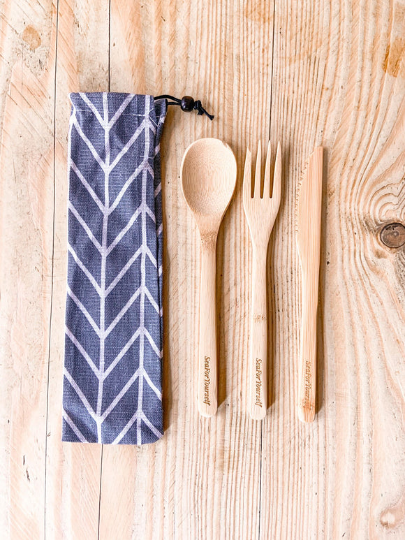 Bamboo Cutlery Set with Chevron Cotton Pouch