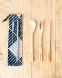 Bamboo Cutlery Set with Blue Sea Waves Cotton Pouch