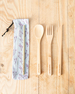 Bamboo Cutlery Set with Blossom Tree Cotton Pouch