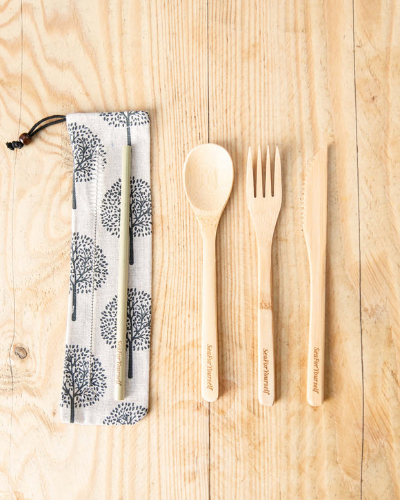 Bamboo Cutlery Set with Oak Tree Cream Cotton Pouch