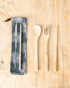 Bamboo Cutlery Set with Ash Tree Grey Cotton Pouch