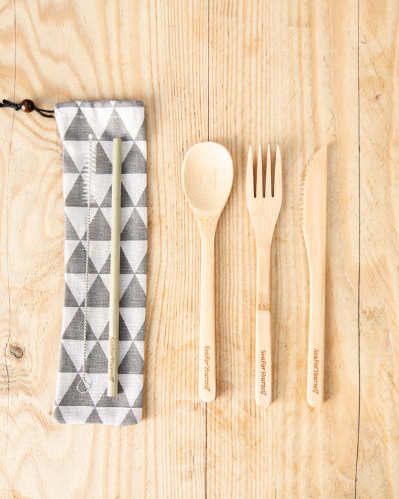 Bamboo Cutlery Set with Geometrical Grey Cotton Pouch