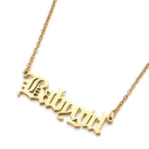 ''Baby Girl'' nameplate Necklace