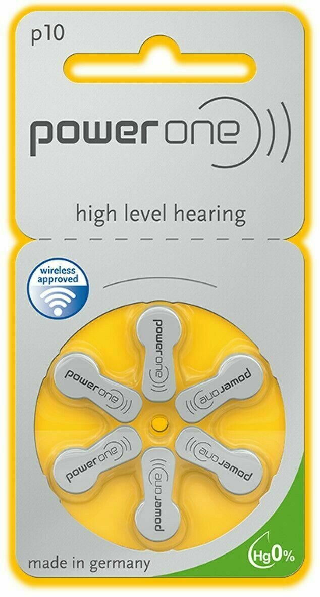 Power One Mercury Free Hearing Aid Batteries Size 10