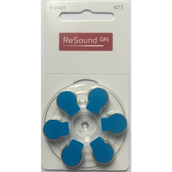 Resound Size 675 Hearing Aid Batteries (Blue Tab) - Various Pack Size