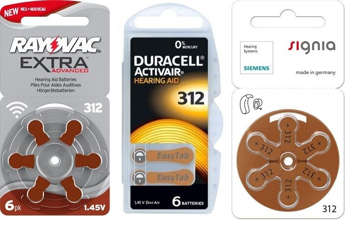 Duracell 312, Siemens 312, Rayovac 312, SAMPLE PACK (1 packet of each)