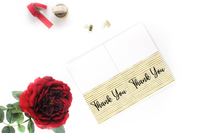 All occasion printable thank you card.  Simple thank you card.  Blank printable thank you card for handmade sellers.  Printable thank you card gold.