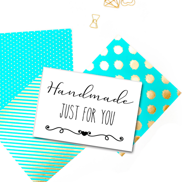 Printable Handmade Just For You greeting card. Thank you cards for Etsy sellers. Packaging supplies for craft business.