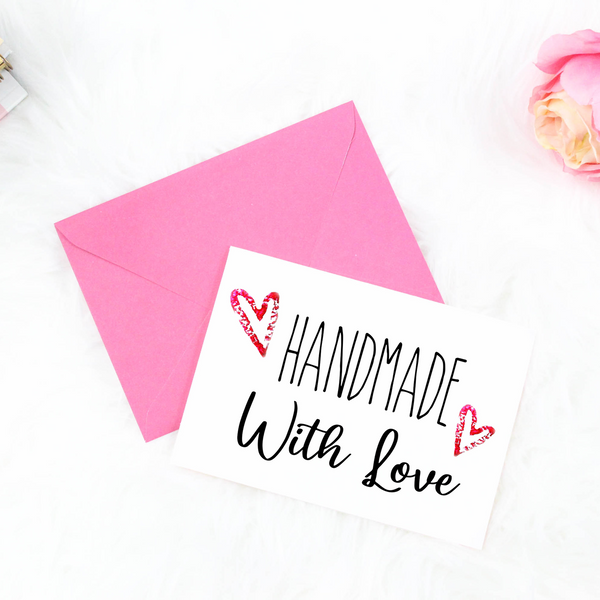 Printable Handmade With Love greeting card with hearts. Handmade business packaging idea on a budget.