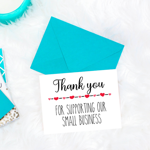 Printable thank you for supporting our small business cards, small business greeting cards, small business thank you cards