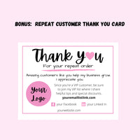 Repeat customer thank you note card template