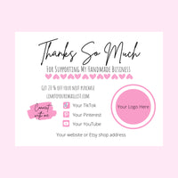 thank you cards for business orders