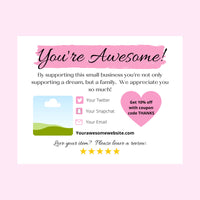 You're awesome business thank you note template