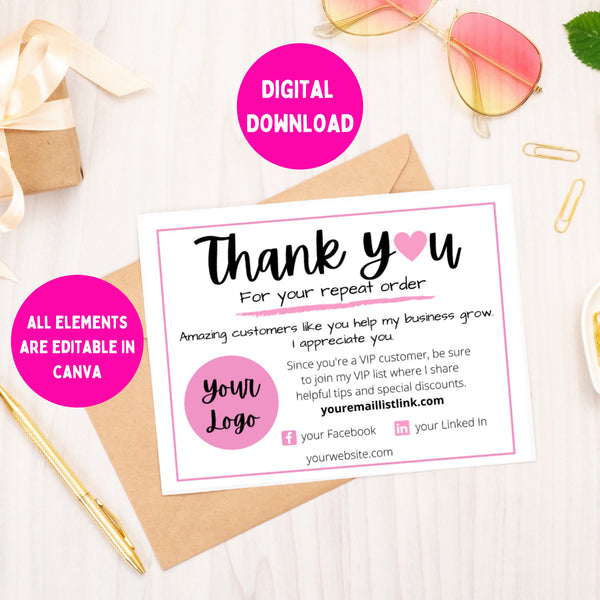 custom repeat customer thank you note card