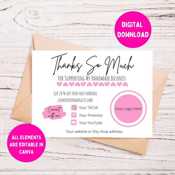 thank you cards handmade business