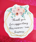 Floral thank you for supporting this mama run business labels, printable small business sticker, thank you stickers with flowers