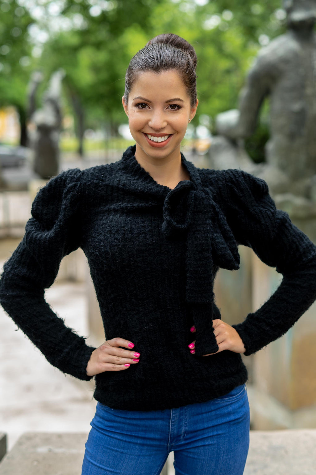 Black knitted sweater