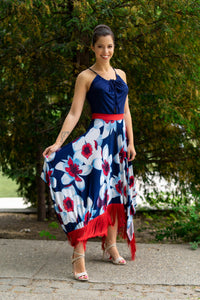 Blue-red floral maxidress