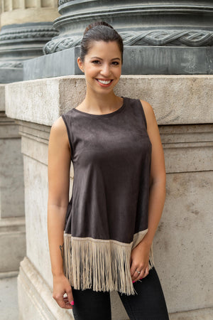 Brown fringy top