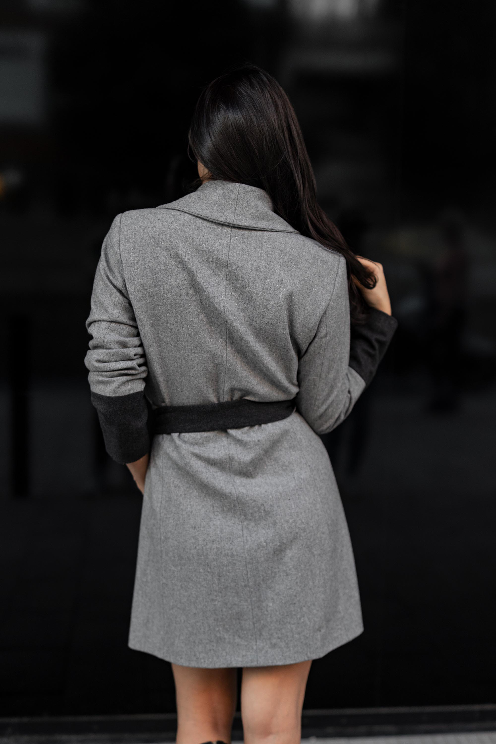 Grey-black transitional coat
