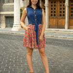 Jeans dress with flower pattern