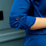 Royal blue shift-dress