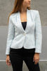 Shiny pale blue blazer