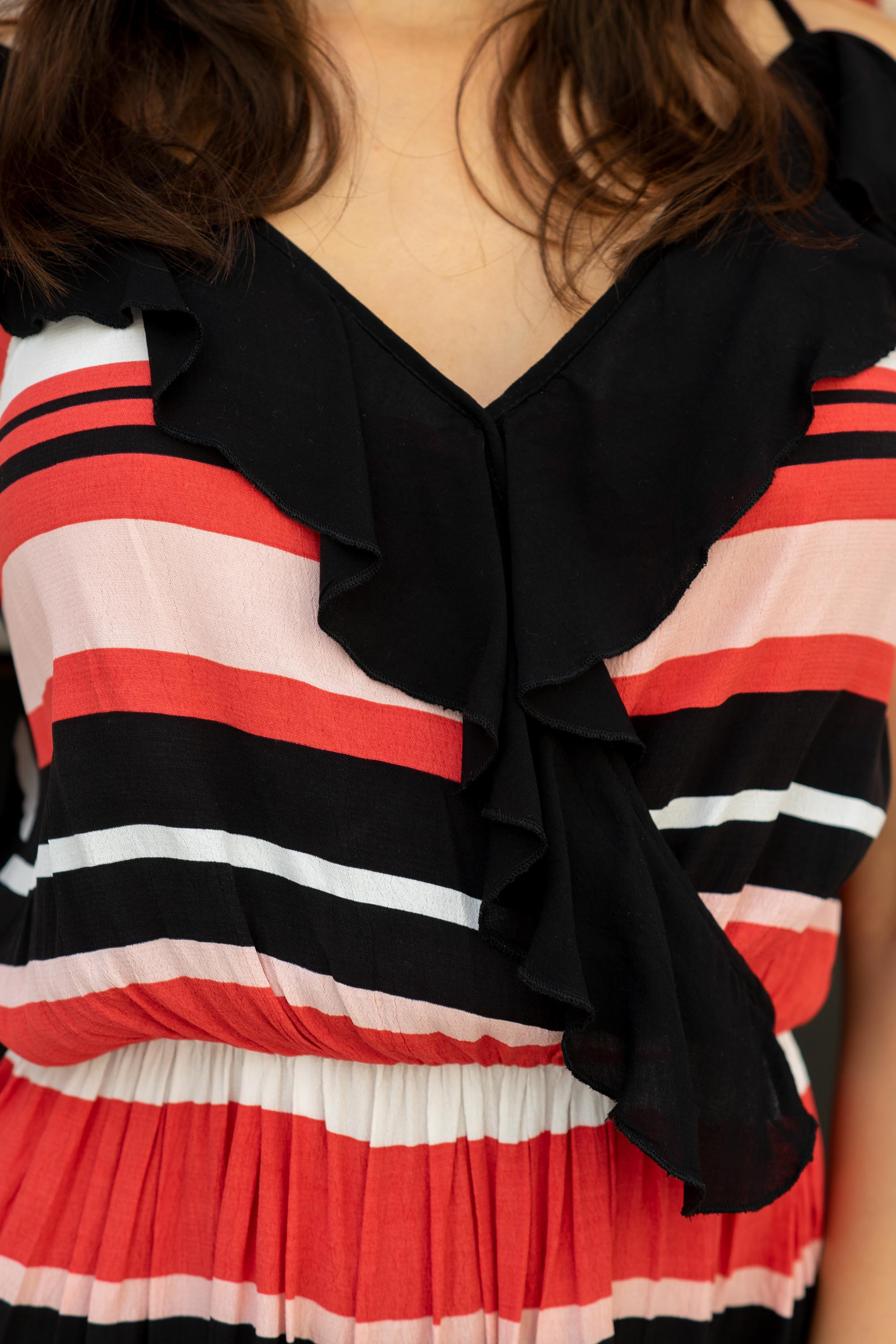 Striped frilly summer dress