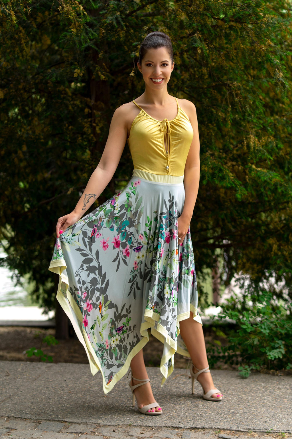 Yellow floral maxidress