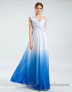 Ombre Blue Chiffon Simple Wedding Dress