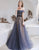 Off-the-Shoulder Prom Dress Navy Blue Evening Dress