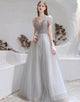 A-Line V-Neck Backless Grey Long Prom Dress with Starlight