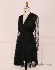 A Line Deep V Neck Long Sleeves Little Black Lace Homecoming Dress