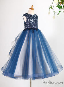 Gorgeous Lace Dusty Blue Flower Girl Dress for Weddings