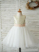 A-Line Knee-length White Tulle Flower Girl Dress with Bow