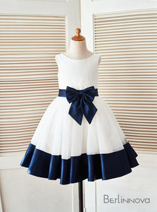 A-Line Navy Blue Satin Flower Girl Dress with Bow