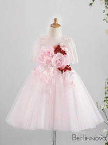 A-Line Jewel Tulle Pink Flower Girl Dress with Flowers