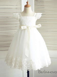 A-Line Short White Lace Flower Girl Dress For Weddings