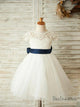 Princess Cap Sleeve White Tulle Flower Girl Dress with Sash