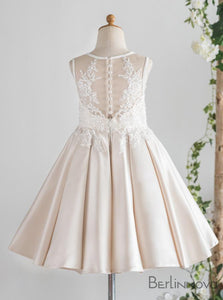 A-Line Sleeveless Satin Flower Girl Dress  wtih Lace Appliques